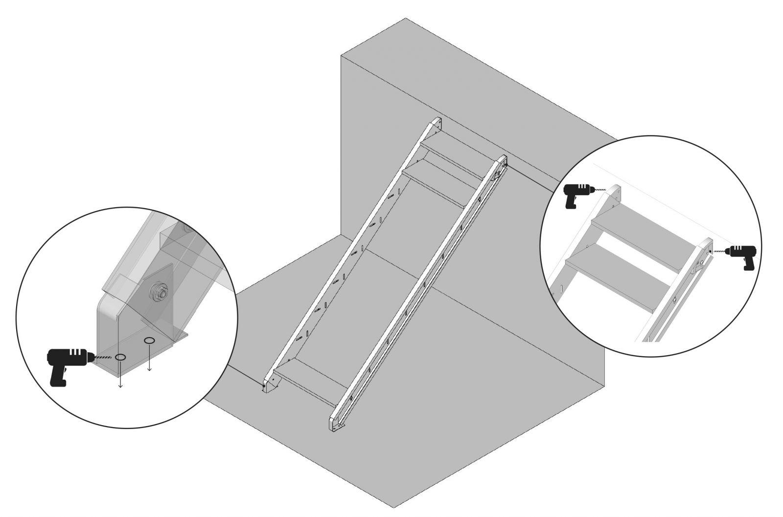 Danach Verankern Sie Treppe An Wand Und In Den Untergrund Befestigen Verankerungen Nicht Fest