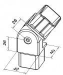 Verbindungsstück des Edelstahl-Handlaufs 40 x 40 mm – verstellbar