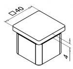 Handlaufsendstück 40x40 – geradeförmig